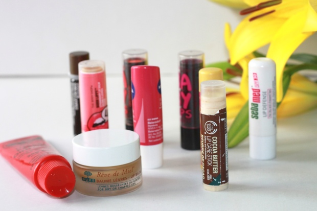 top lip balms, winter lip balms, lip balm for chapped lips, nuxe reve de miel, lucas paw paw, cocoa butter body shop, body shop lip balm, nuxe lip balm, seba med lip balm