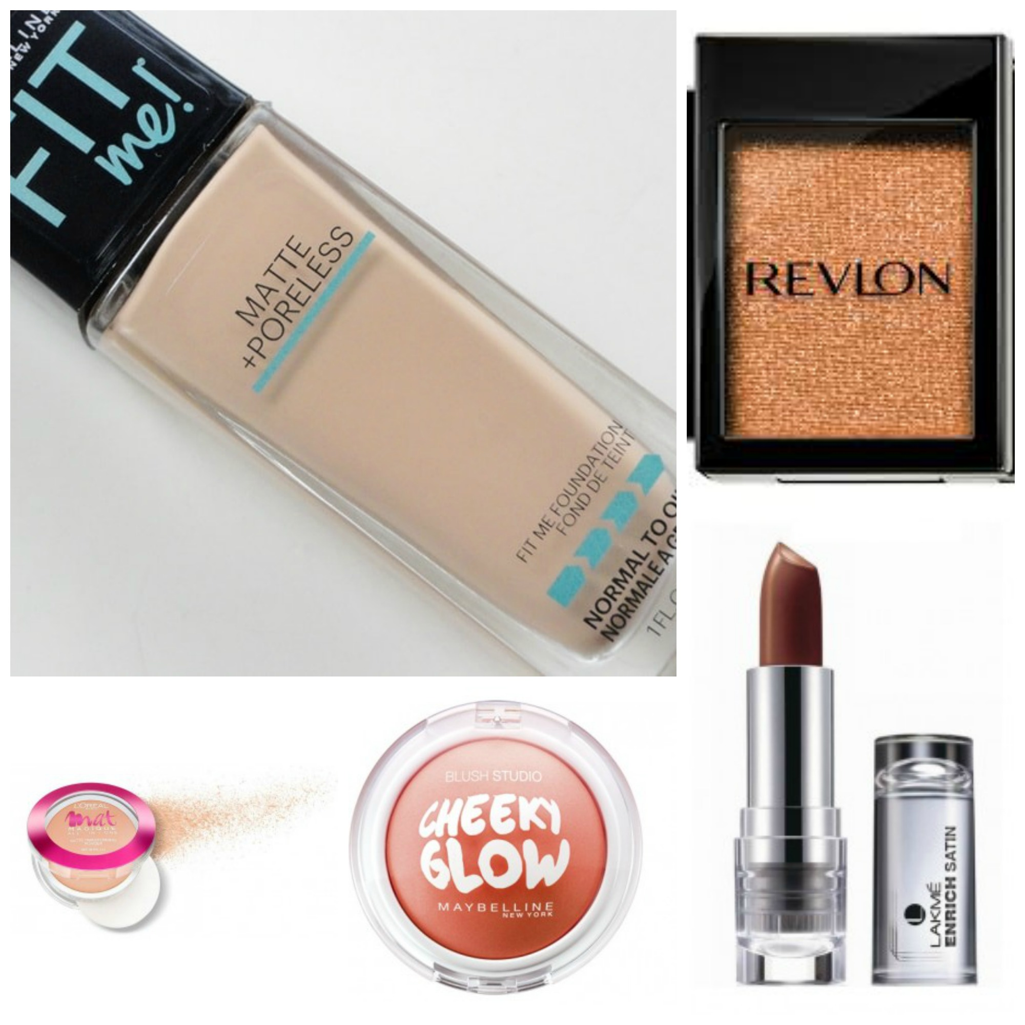 budget beuaty, 5 under 500, drugstore products, beauty products, maybelline fit me foundation, maybelline cheeky glow, loreal mat magique, lakme enrich lipstick, revlon links eye shadow