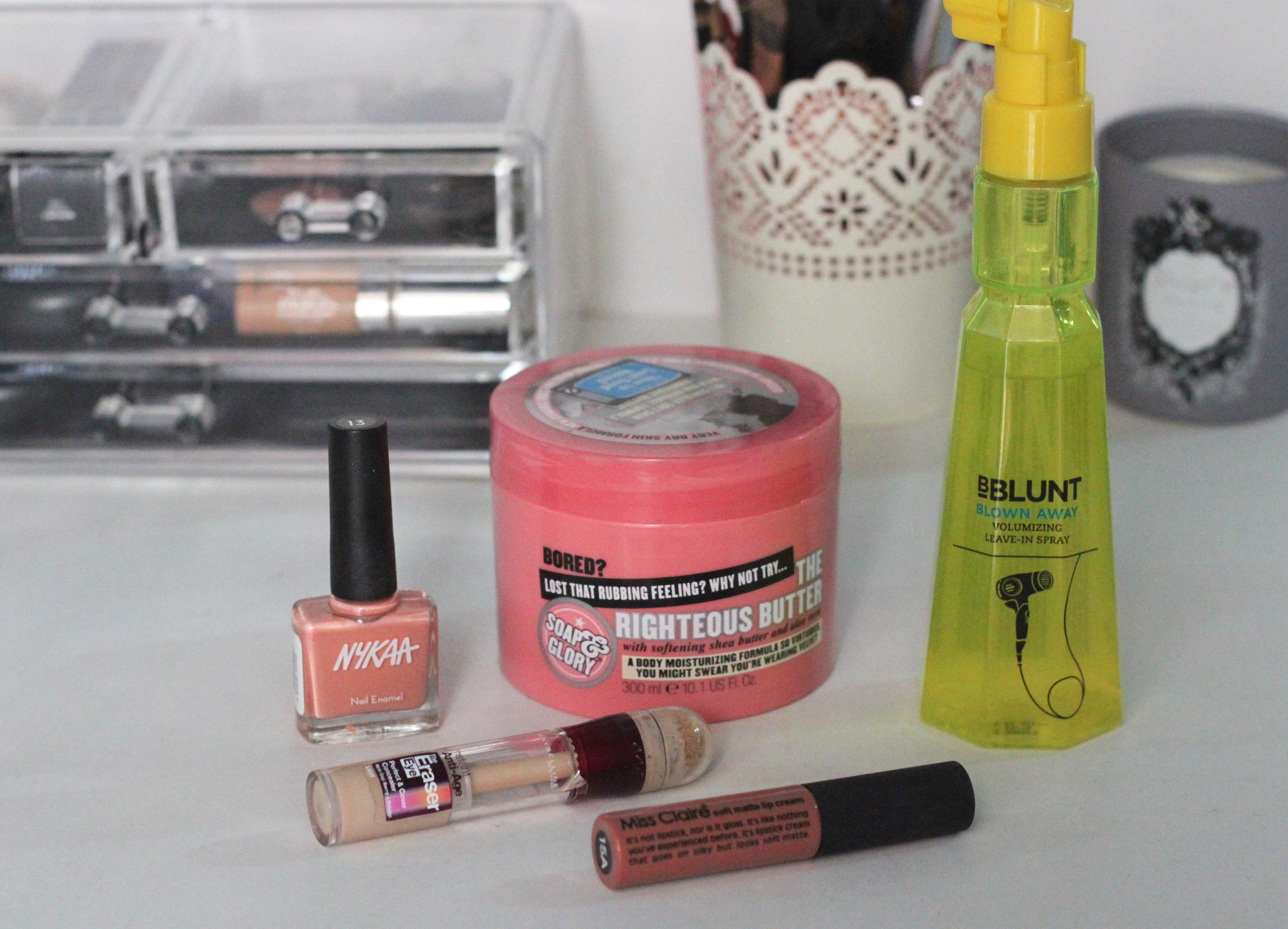 monthly favourites, march favourites, beauty favourites, nykaa nail polish, soap and glory righteous body butter, maybelline age rewind concealer, bblunt volumizing spray, miss claire